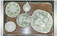 Crown Anne ''Fernlea'' China Part Tea Set. Green