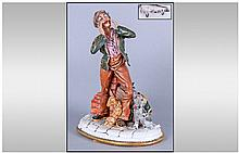 Capodimonte Early And Signed Figure, rag and bone