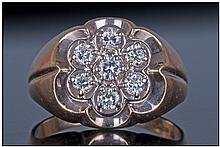 14ct Yellow Gold Set Diamond Cluster Ring. The