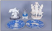 Collection Of Ceramics Including Dolphin figure on