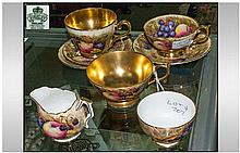 Aynsley Part Tea Set. All decorated with fruits