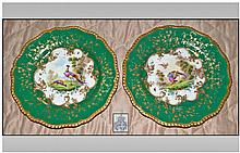 Pair Of Royal Worcester Painted Cabinet Plates.