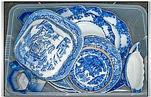 Collection Of Assorted Blue And White Table Ware.