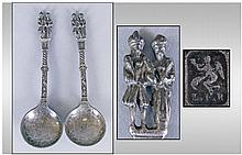 Dutch Pair Of Pewter Marriage Spoons, with makers