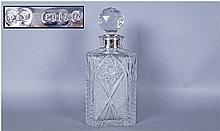Fine Quality Cut Glass Whiskey Decanter Of Square