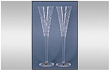 Waterford Cut Crystal Pair Of Champagne Flutes,