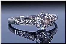 A Platinum Set Single Stone Diamond Ring with six