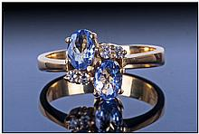 18ct Gold Set Tanzonite & Diamond Ring, Marked