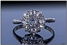 18ct Gold & Platinum Diamond Cluster Ring,
