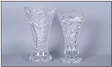 Two Various Crystal Glass Trumpet Vases, both on