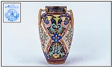 Noritake Fine Hand Painted 3 Handled Vase. Persian