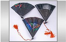 Three Oriental Fans. One depicting an Oriental