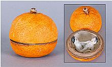 Japanese Pottery Orange. When the lid lifted it