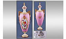 Royal Worcester Hand Painted Floral Two Handle