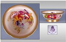 Royal Worcester Hand Painted Fruits Footed Bowl.