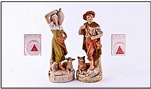 Royal Dux Pair Of Figures ''Shepherd'' And ''Water