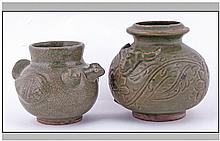 Two Oriental Celadon Glazed Crackle Ware Zoom