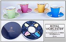 Royal Worcester Box Set Of Four Cups & Saucers,