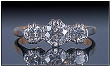 Ladies 18ct Gold Diamond Ring, Set With Three