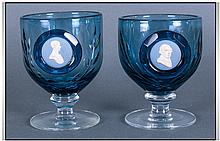 Pair Of Fine Quality Wedgwood Blue Cut Glass