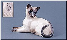 Royal Doulton Cat Figure ''Siamese Cat Lying''