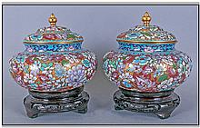 Pair Of Chinese Lidded Cloisonne Vases,
