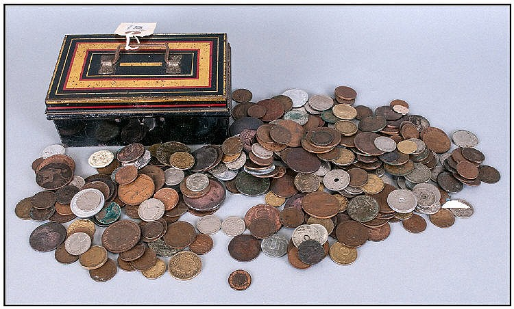 Tin Money Box Containing Copper Coins.