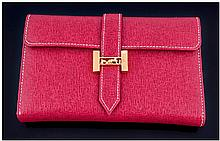 Red Leatherette Ladies Purse, with gold coloured