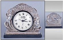 Modern Silver Cased Mantel Clock, raised