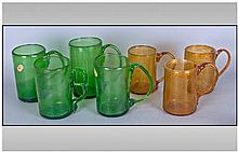 Collection of Free-Blown Coloured Glass Tankards,