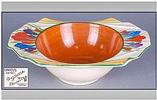 Clarice Cliff Hand Painted Bowl, crocus pattern.