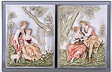 Pair of German Bisque Romantic Wall Plaques, one