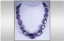 Purple Banded Amethyst Large Bead Necklace,