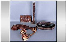 Four Ethnic Carved Wood Items. Comprising carved