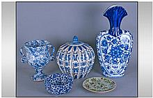 Small Collection of Ceramics comprising Two Blue