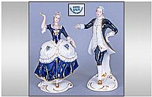 Royal Dux Pair Of Cobalt Blue And White Porcelain