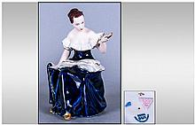 Royal Dux Cobalt Blue And White Porcelain Figure.