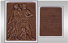 An Unusual Bronze Medal In A Fitted Leather Case.