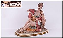 Capodimonte Signed And Early Figure ''Harp Lady''