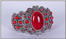 Scarlet Howlite Cabochon Cuff Bangle, the hinged