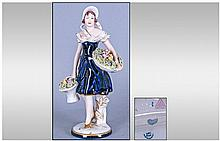 Royal Dux Figure, Young woman carrying baskets of
