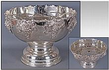 Large Silver Plated Punch Bowl Of Good Quality,