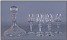 Cut Glass Captains Decanter. Together with 6