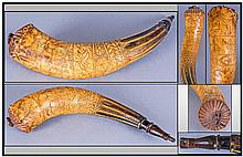 American Powder Horn, Dated 1816 And Also Carved