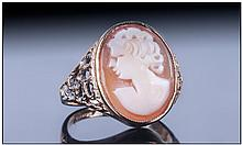 9ct Gold Cameo Ring, oval cameo front depicting a