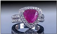 14ct White Gold Ruby And Diamond Ring, set with a