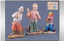 Capodimonte Handpainted Clown Figures, 3 in total.