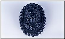 Antique Carved Jet Cameo, depicting a classical