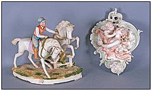 Grafenthal Bisque Jockey and Horses Figure Group,