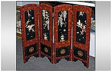 A Small Japanese Four Fold Table Screen, depicting